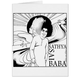 Sathya Sai Baba BD, dibujo de la mano Tarjeta De Felicitación Grande