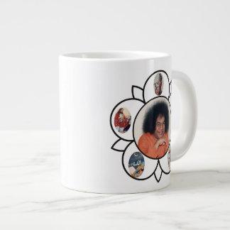 Sathya Sai Baba Jumbo Mug with Sarva Dharma Symbol 20 Oz Large Ceramic Coffee Mug