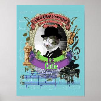Satie Spoof Parody Erik Catie Funny Cat Composer Poster