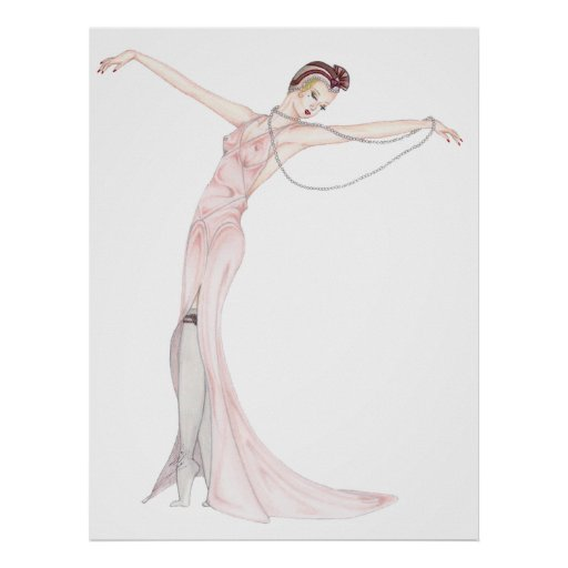 Satin and Pearls - Art Deco Pinup art. Posters