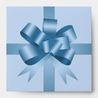 Satin blue bow ribbon party holiday gift square CD Envelope