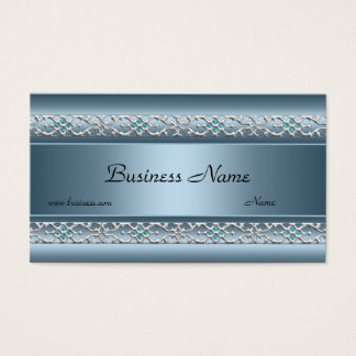Satin Blue Silver Trim Elegant Business Card