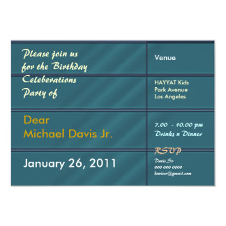 Satin Blue with Sample Text 5x7 Paper Invitation Card