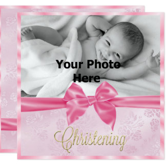 Satin Bow Photo Girl's Christening Card