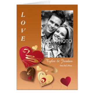 Satin Caramel Candy Hearts Photo Valentine Card