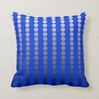 Satin dots - cobalt blue and pewter pillow