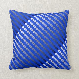 Satin dots - cobalt blue and pewter throw pillow