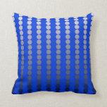 Satin dots - cobalt blue and pewter throw pillows