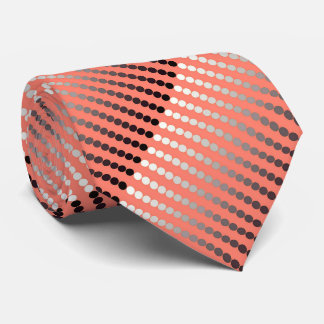 Satin dots - coral and pewter neck tie