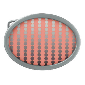 Satin dots - coral and pewter oval belt buckle