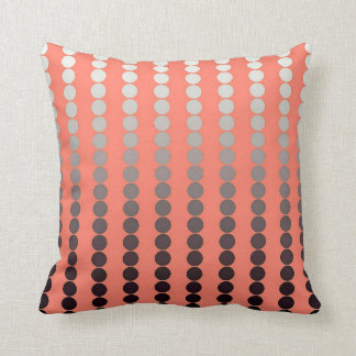 Satin dots - coral and pewter throw pillow