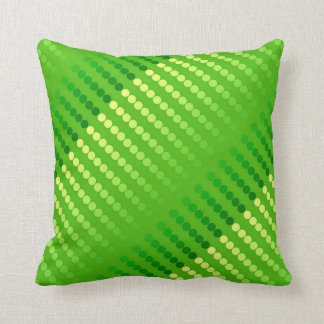Satin dots - shades of lime green throw pillow