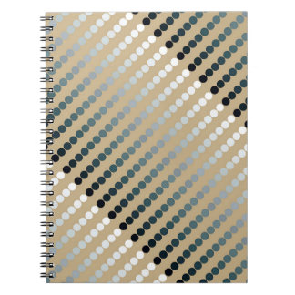 Satin dots - taupe and pewter gray spiral notebook