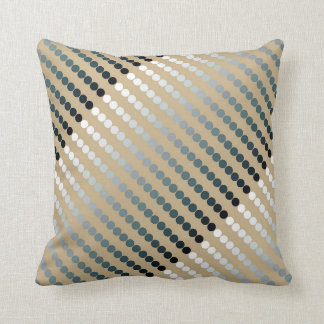 Satin dots - taupe and pewter gray throw pillow