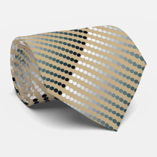 Satin dots - taupe and pewter gray tie