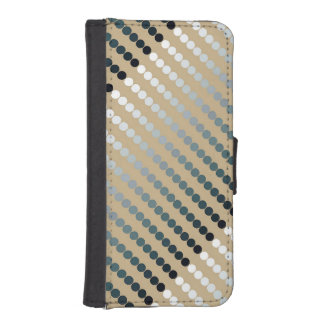 Satin dots - taupe and pewter gray wallet phone case for iPhone SE/5/5s