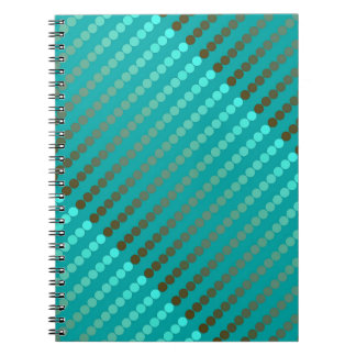 Satin dots - turquoise and pewter gray spiral notebooks