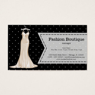 Satin gown business card