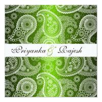 Satin Green White Lace Paisley Wedding Invitation
