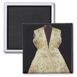 Satin Hunting Coat Embroidered with Silks in 2 Inch Square Magnet
