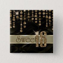 Satin Jewel Sweet Sixteen Black Gold ID260 Button