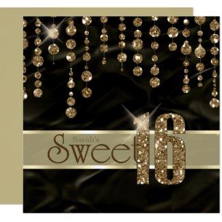 Satin Jewel Sweet Sixteen Black Gold ID260