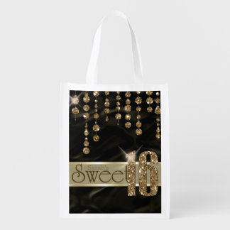 Satin Jewel Sweet Sixteen Black Gold ID260 Market Tote