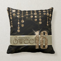 Satin Jewel Sweet Sixteen Black Gold ID260 Throw Pillow