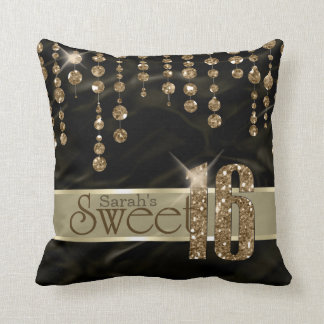 Satin Jewel Sweet Sixteen Black Gold ID260 Throw Pillow