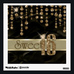 """Satin Jewel Sweet Sixteen Black Gold ID260 Wall Decal<br><div class=""""desc"""">This elegant Sweet Sixteen wall decal features a giant,  gold faux-glitter &#39;16&#39; and ribbon over a black satin effect background adorned with a pattern of hanging jewels. Specify your event details on the back using the custom template. Search ID260 to see other products with this design.</div>"""