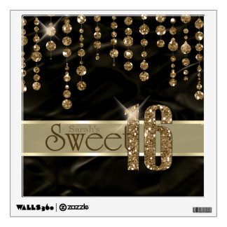 Satin Jewel Sweet Sixteen Black Gold ID260 Wall Decal