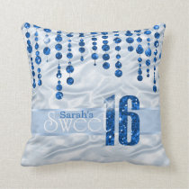 Satin Jewel Sweet Sixteen Blue ID260 Throw Pillow