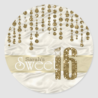 Satin Jewel Sweet Sixteen Gold ID260 Classic Round Sticker