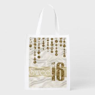 Satin Jewel Sweet Sixteen Gold ID260 Market Totes