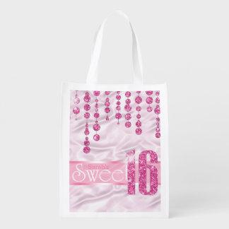 Satin Jewel Sweet Sixteen Pink ID260 Reusable Grocery Bag