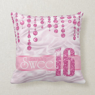 Satin Jewel Sweet Sixteen Pink ID260 Throw Pillow