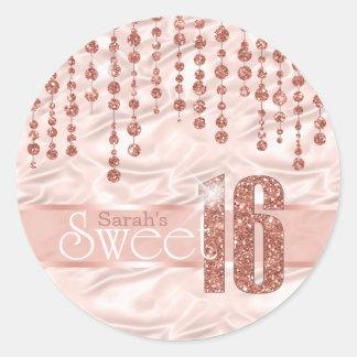 Satin Jewel Sweet Sixteen Rose Gold ID260 Classic Round Sticker