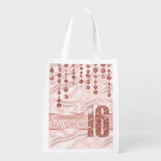 Satin Jewel Sweet Sixteen Rose Gold ID260 Market Tote