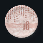 """Satin Jewel Sweet Sixteen Rose Gold ID260 Paper Plate<br><div class=""""desc"""">This elegant Sweet Sixteen paper plate features a giant,  rose gold faux-glitter &#39;16&#39; and ribbon over a satin effect background adorned with a pattern of hanging jewels. Add a celebrant&#39;s name using the provided template. Search ID260 to see other products with this design.</div>"""