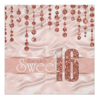 Satin Jewel Sweet Sixteen Rose Gold ID260 Poster