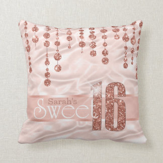 Satin Jewel Sweet Sixteen Rose Gold ID260 Throw Pillow