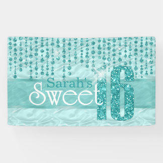 Satin Jewel Sweet Sixteen Teal ID260 Banner