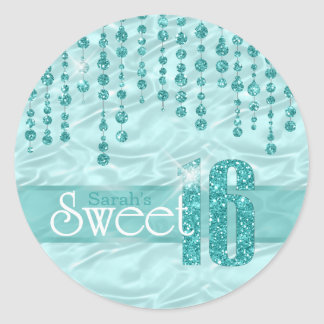 Satin Jewel Sweet Sixteen Teal ID260 Classic Round Sticker