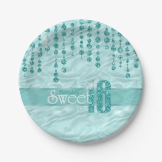 Satin Jewel Sweet Sixteen Teal ID260 Paper Plate