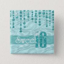 Satin Jewel Sweet Sixteen Teal ID260 Pinback Button