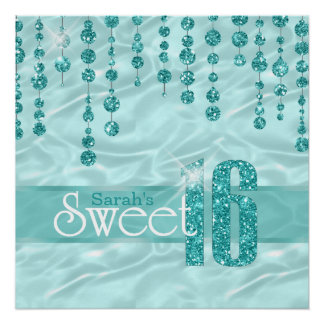 Satin Jewel Sweet Sixteen Teal ID260 Poster