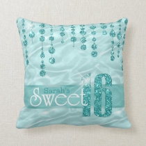 Satin Jewel Sweet Sixteen Teal ID260 Throw Pillow