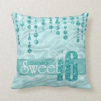 Satin Jewel Sweet Sixteen Teal ID260 Throw Pillow