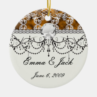 Satin Lace Effect Hint of Gold Damask Ceramic Ornament