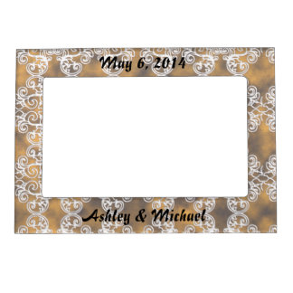 Satin Lace Effect Hint of Gold Damask Magnetic Picture Frame